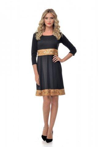 Rochie neagra eleganta Natalee cu bordura crem