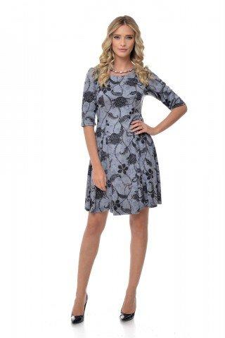 Rochie gri eleganta cu imprimeu negru