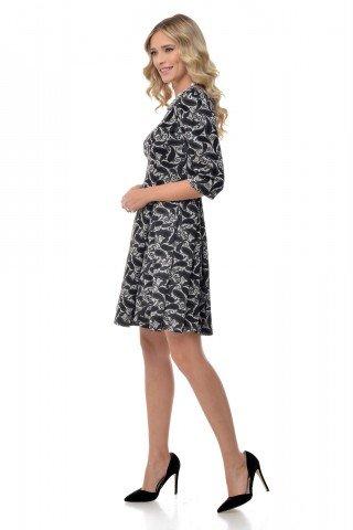 Rochie gri Natalee cu imprimeu paisley negru