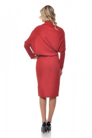 Rochie rosie casual Natalee tricotata