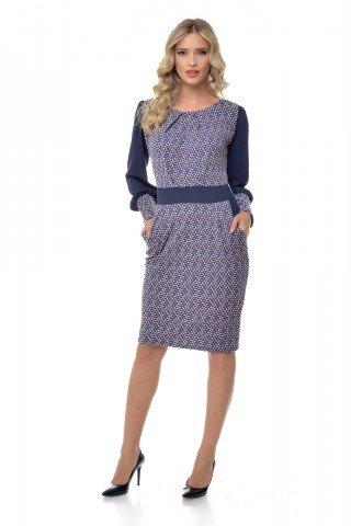Rochie bleumarin eleganta cu imprimeu