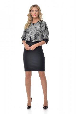 Rochie neagra cu bolero alb-negru Natalee