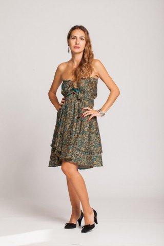 Rochie cu floricele turcoaz si bej