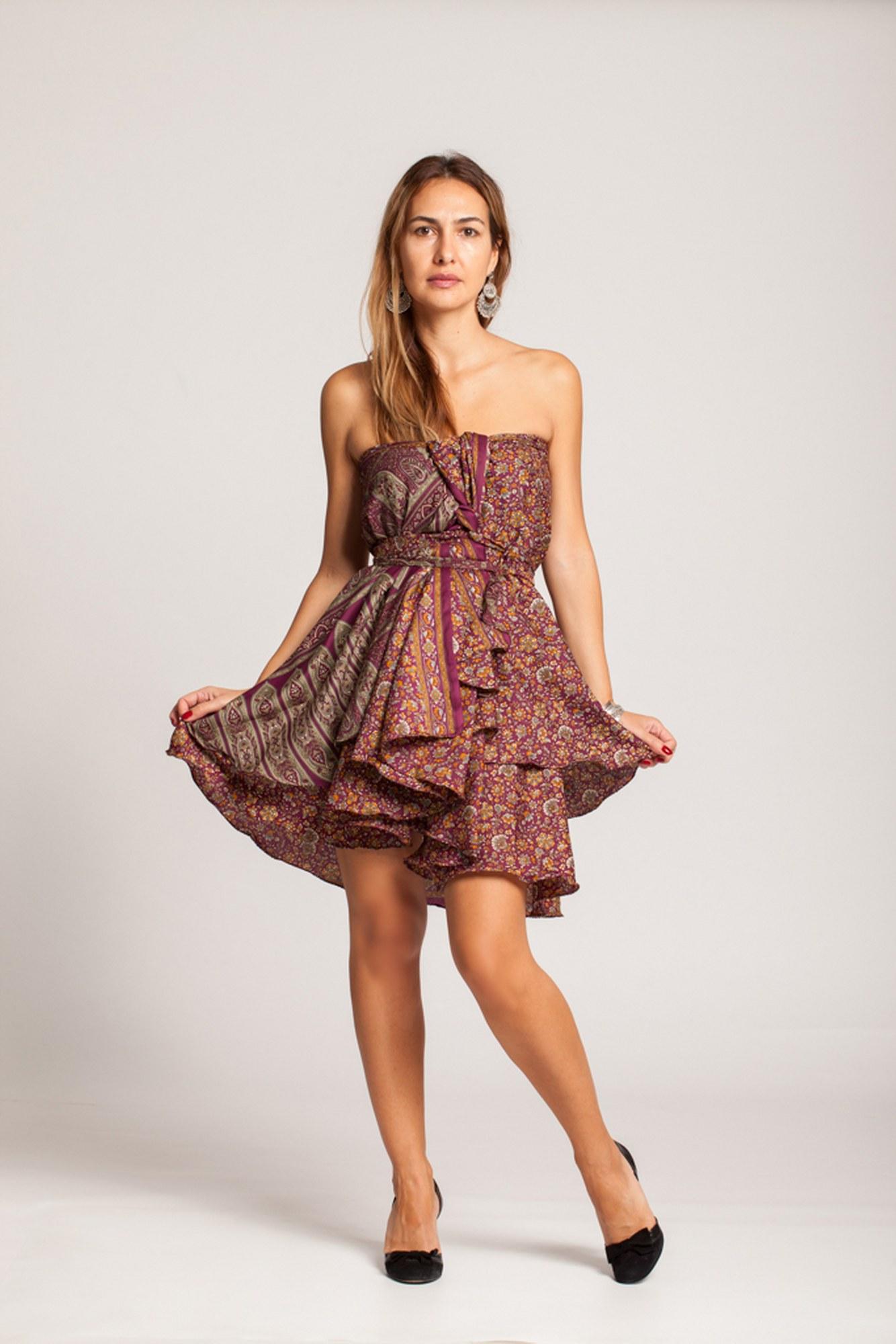 Rochie cu floricele mov si bej