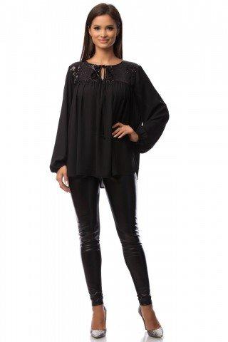 Bluza neagra eleganta cu platca din paiete