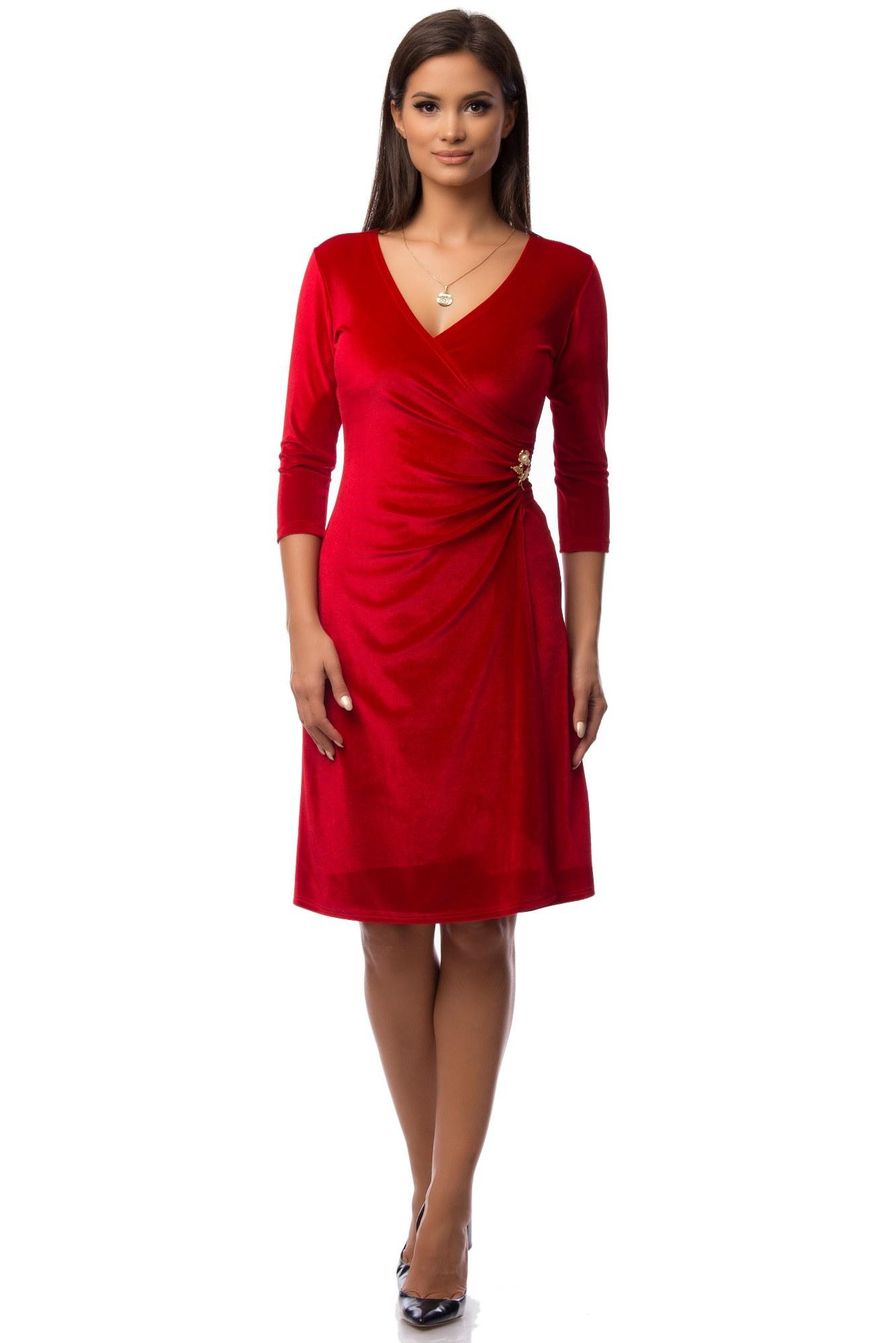 Rochie rosie din catifea Eranthe