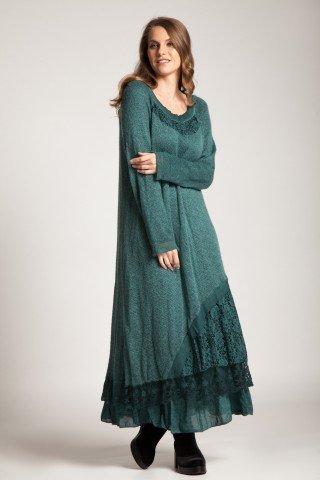 Rochie verde lunga Leila cu dantela