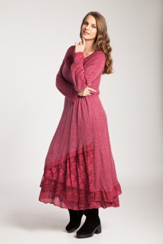 Rochie rosie lunga Leila cu dantela