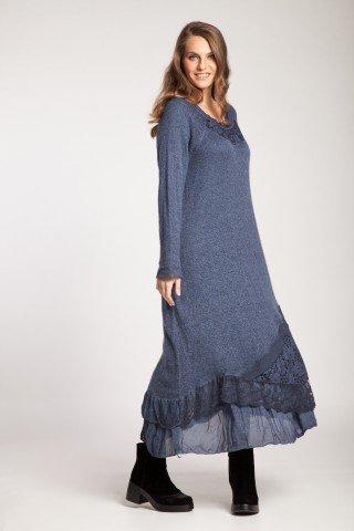 Rochie albastru denim lunga Leila cu dantela