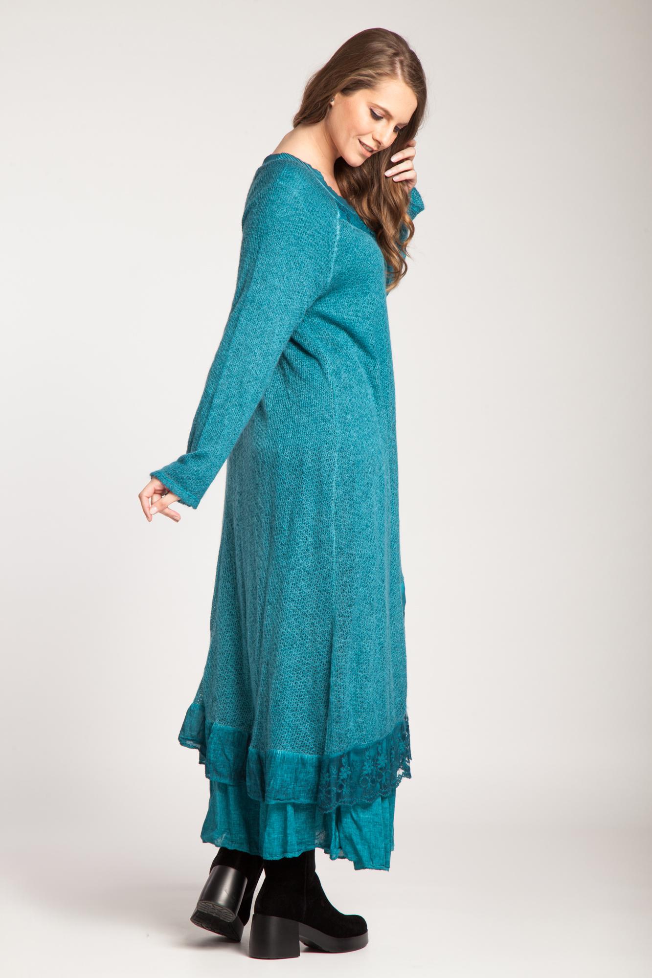 Rochie turcoaz lunga Leila cu dantela