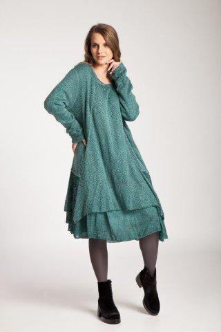 Rochie verde asimetrica Muna cu dantela