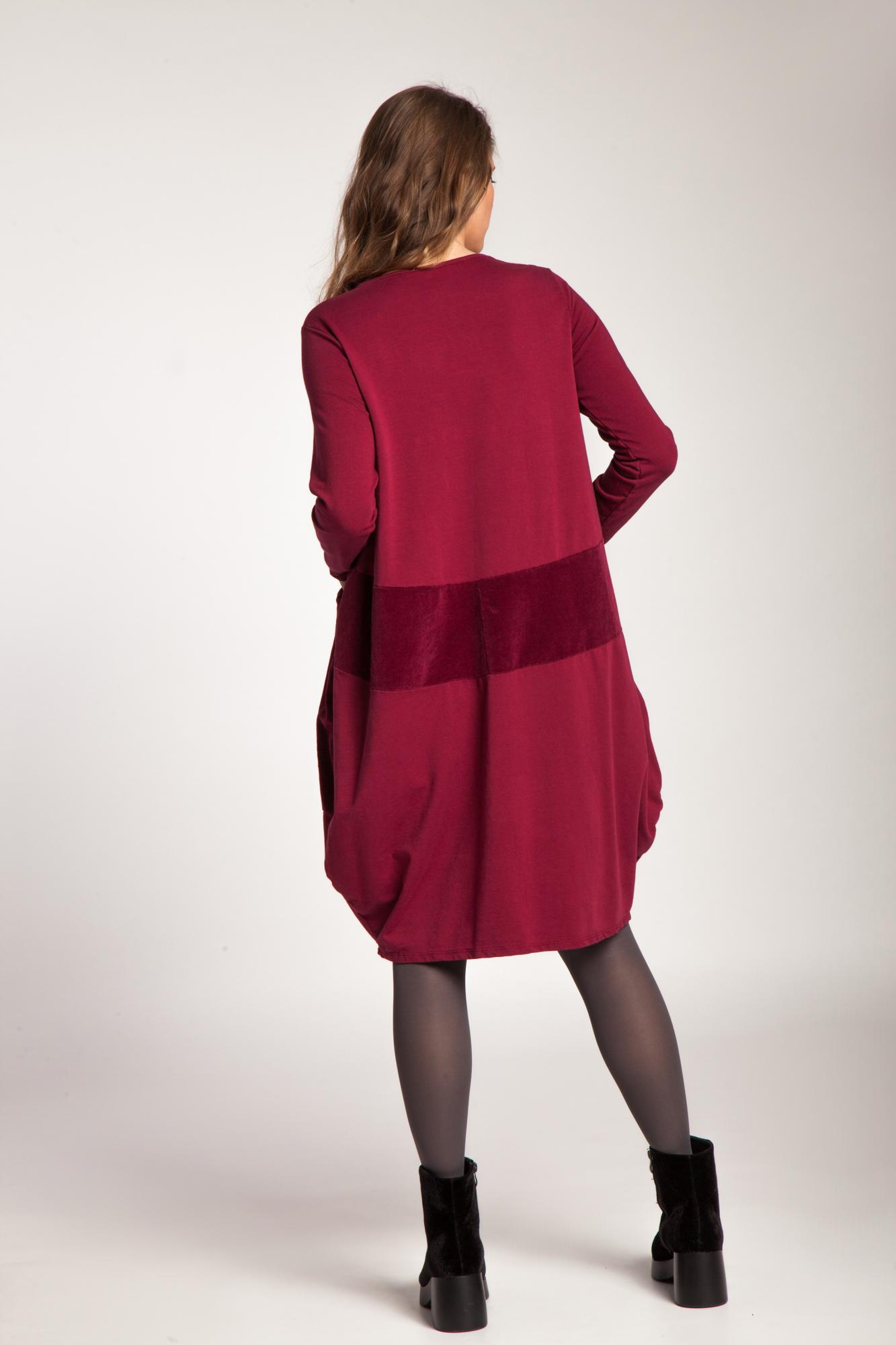 Rochie rosu rubin bumbac Amber cu catifea raiata