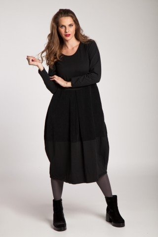 Rochie neagra bumbac Charlotte cu catifea raiata