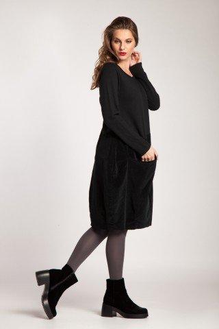 Rochie neagra bumbac Betisa cu catifea raiata si buzunar aplicat