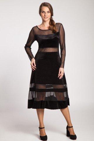 Rochie neagra de seara din catifea cu tul