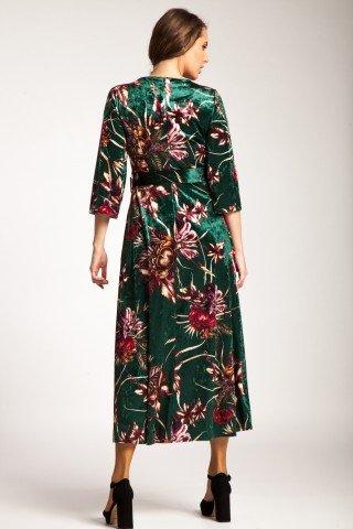 Rochie verde lunga de catifea Arden cu imprimeu floral