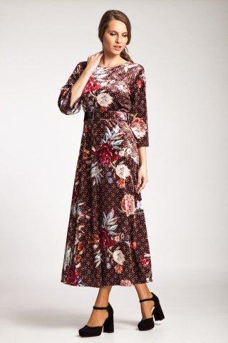 Rochie maro de catifea Arden cu imprimeu floral