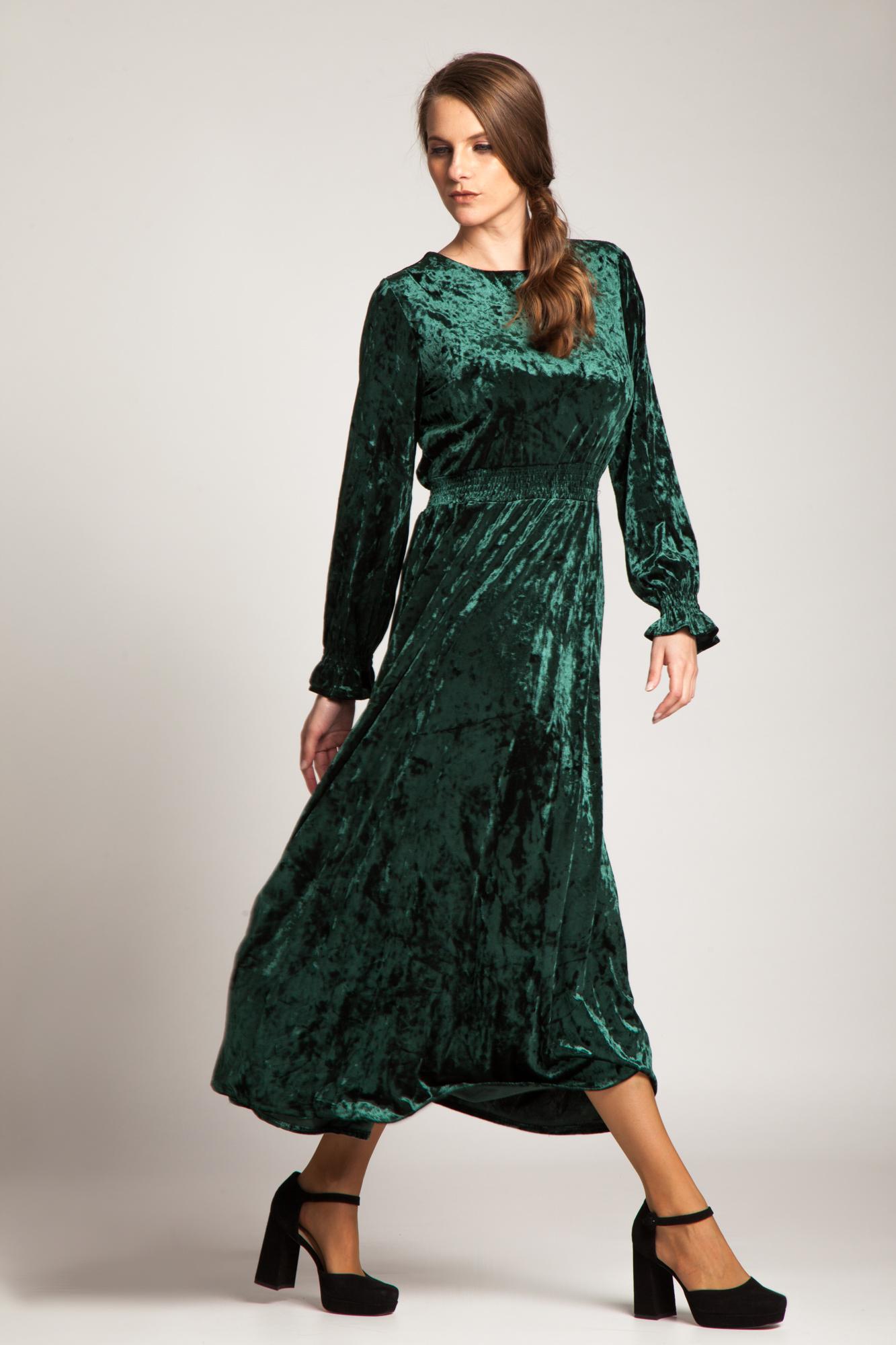 Rochie verde de catifea Brinda