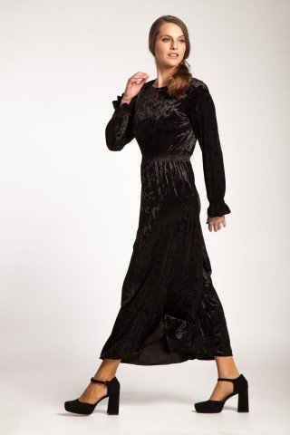 Rochie neagra de catifea Brinda