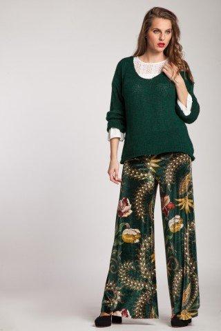 Pantaloni de catifea verde cu imprimeu floral