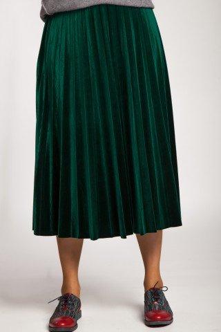 Fusta verde plisata din catifea