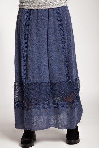 Fusta lunga albastru denim din lana