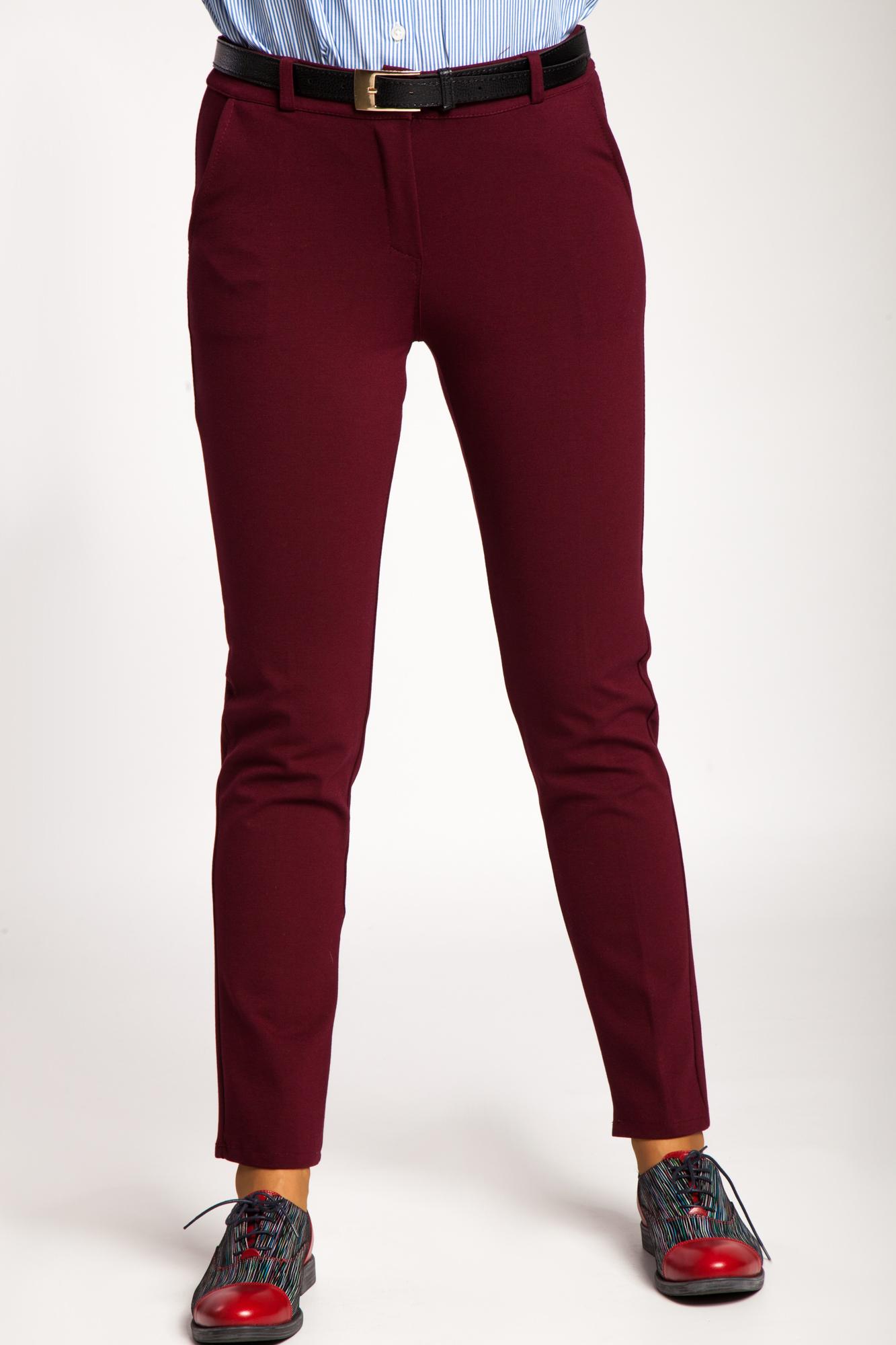 Pantaloni visinii cu stretch eleganti