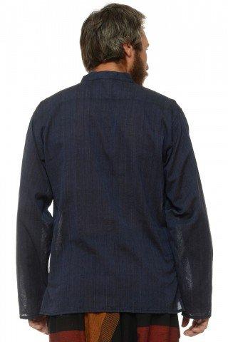 Camasa de bumbac cu trei nasturi si maneca lunga - bleumarin