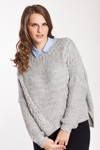 Pulover gri oversize cu model Floris