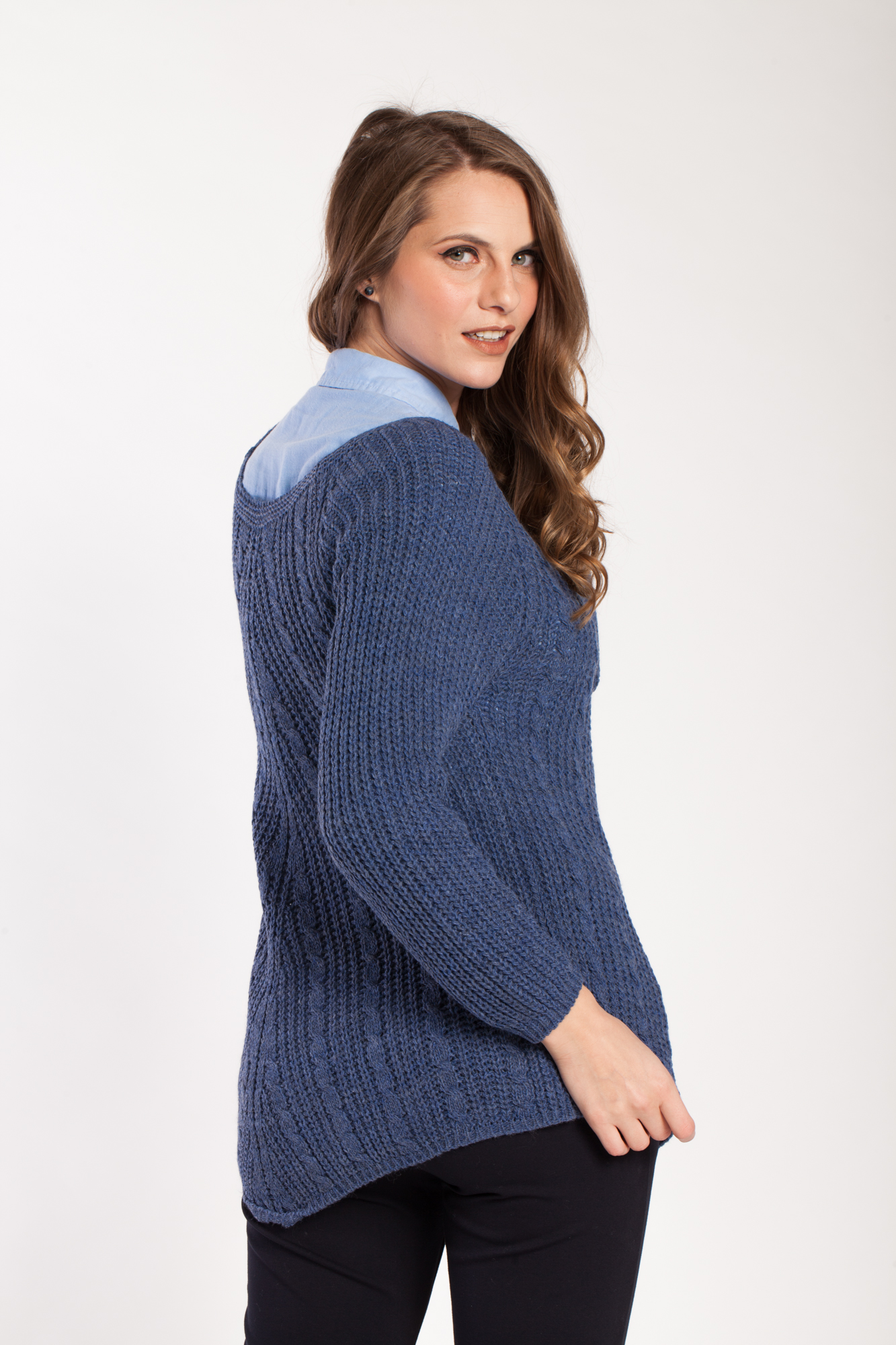 Pulover albastru asimetric  Sara