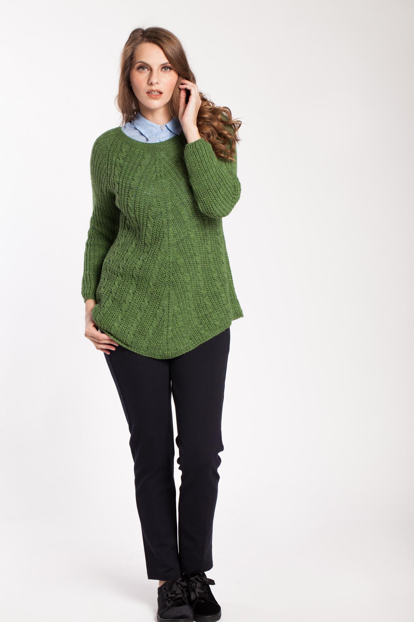 Pulover verde asimetric Sara
