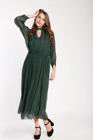 Rochie verde lunga Kisa de matase
