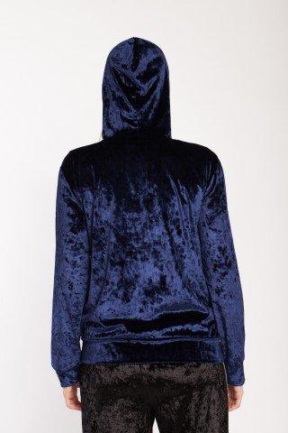 Hanorac albastru indigo Rowa din catifea cu gluga si fermoar