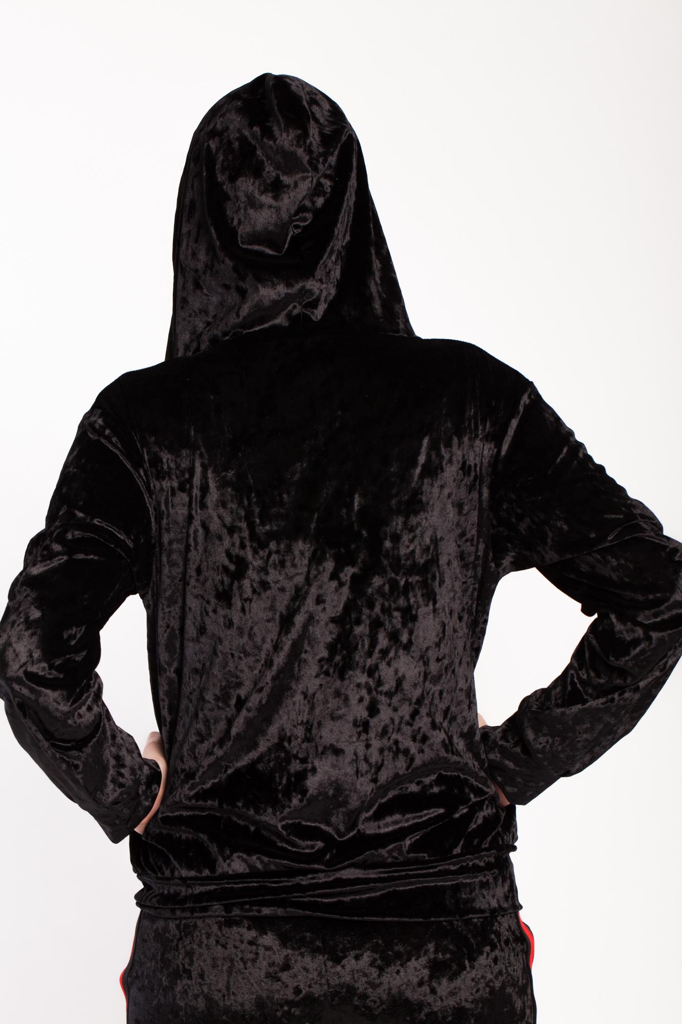 Hanorac negru Rowa din catifea cu gluga si fermoar