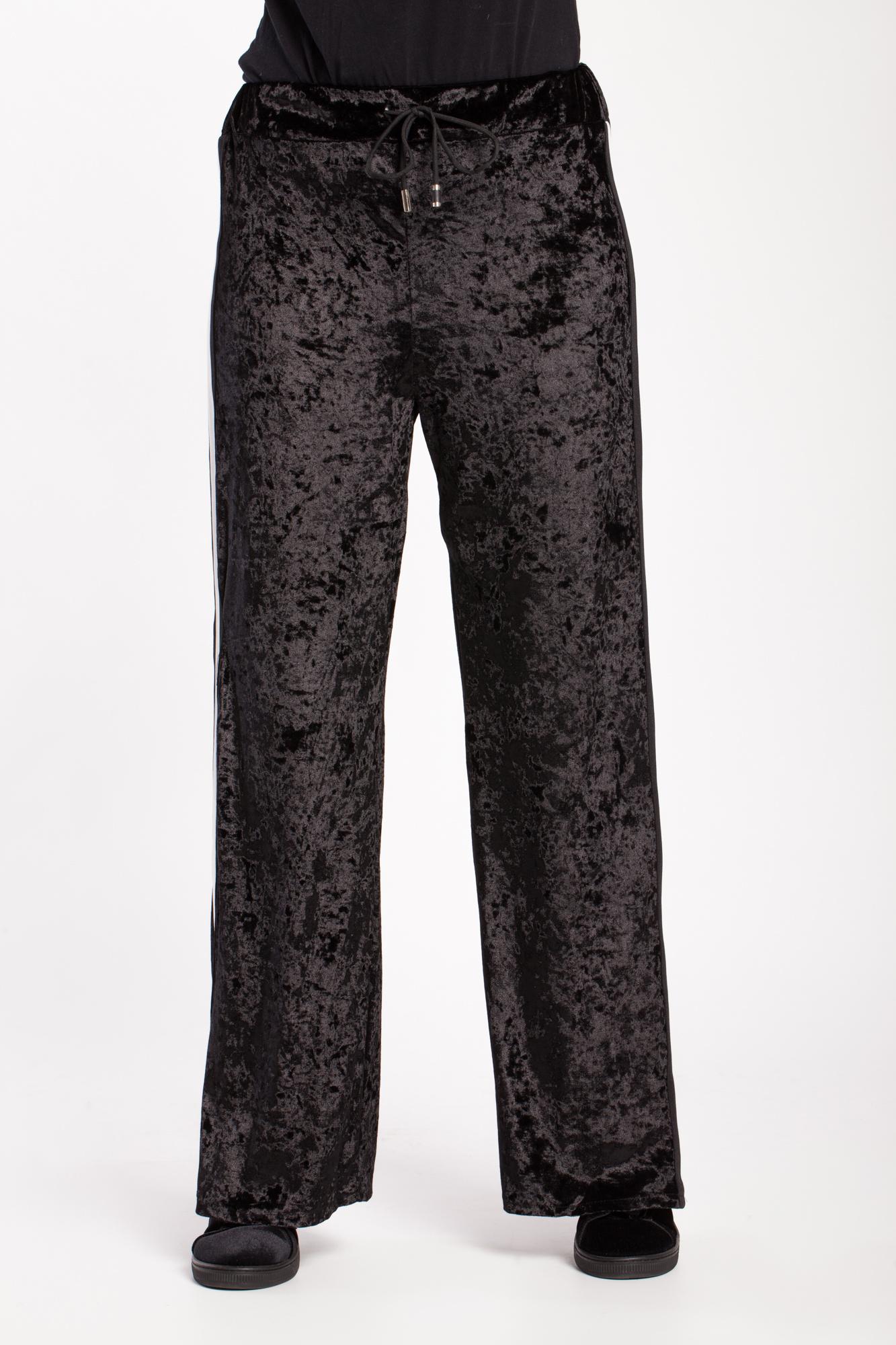 Pantaloni negri din catifea Ping cu snur
