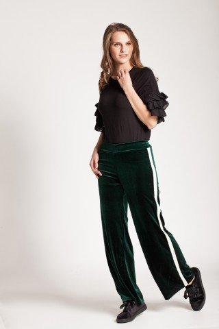 Pantaloni verzi evazati Macha din catifea