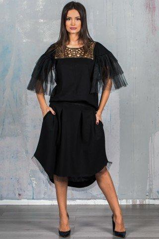 Compleu negru cu fusta si bluza  GDV1006