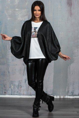 Jacheta oversize negru metalizat GDV1017