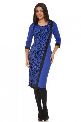 Rochie conica asimetrica albastra cu imprimeu catifea