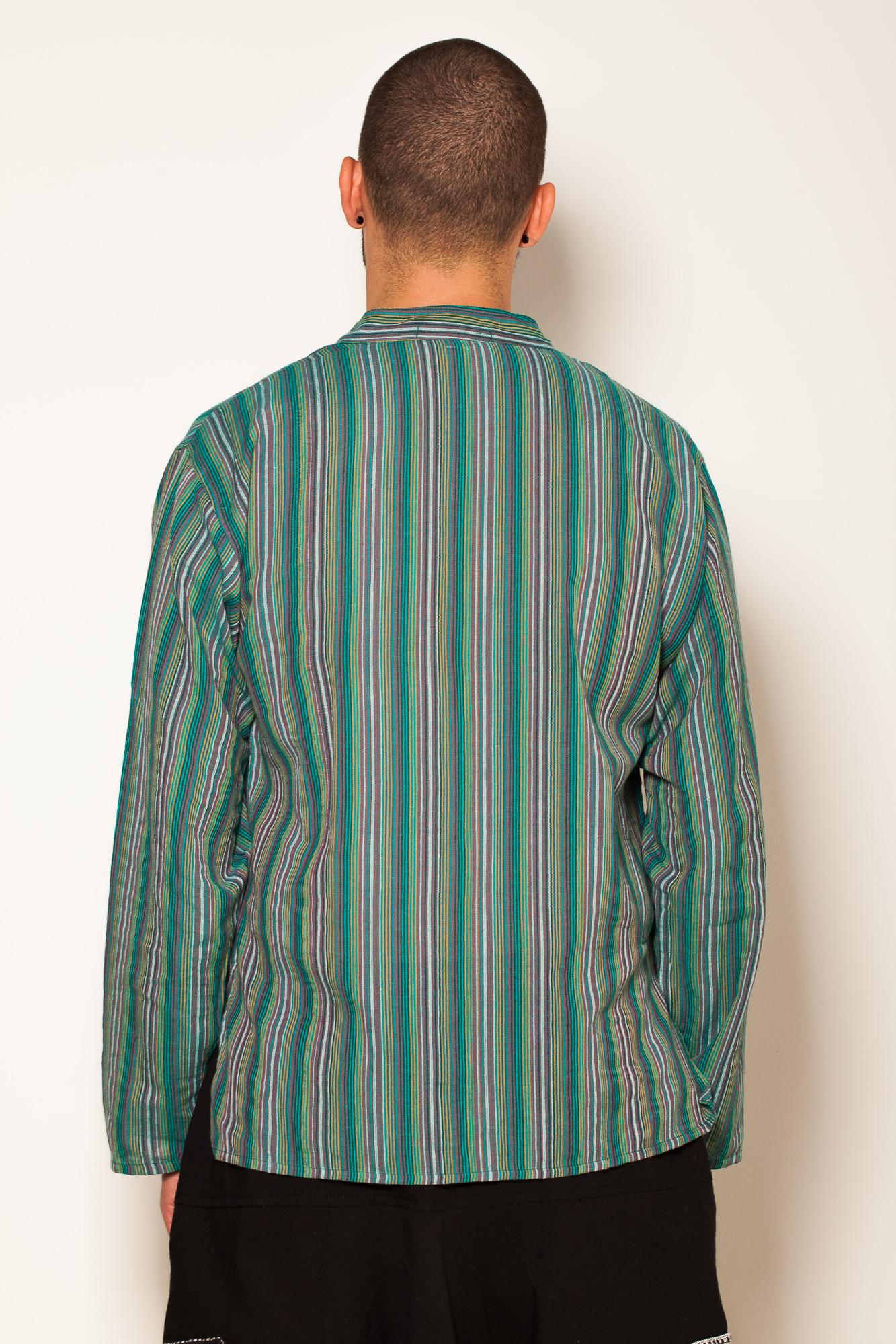 Camasa de bumbac cu trei nasturi si maneca lunga - dungi verzi