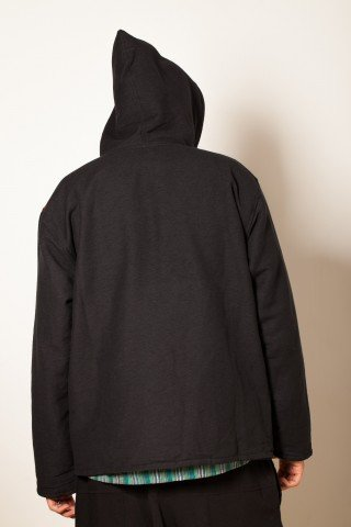 Jacheta neagra dublura polar cu dungi