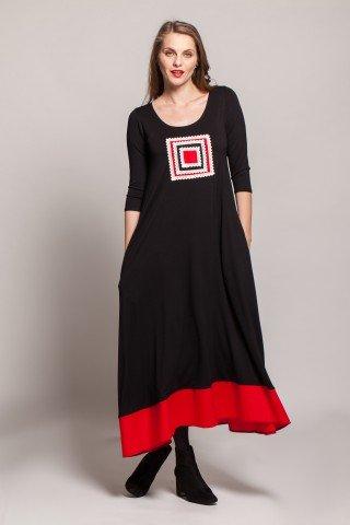 Rochie neagra lunga Mada cu bordura rosie