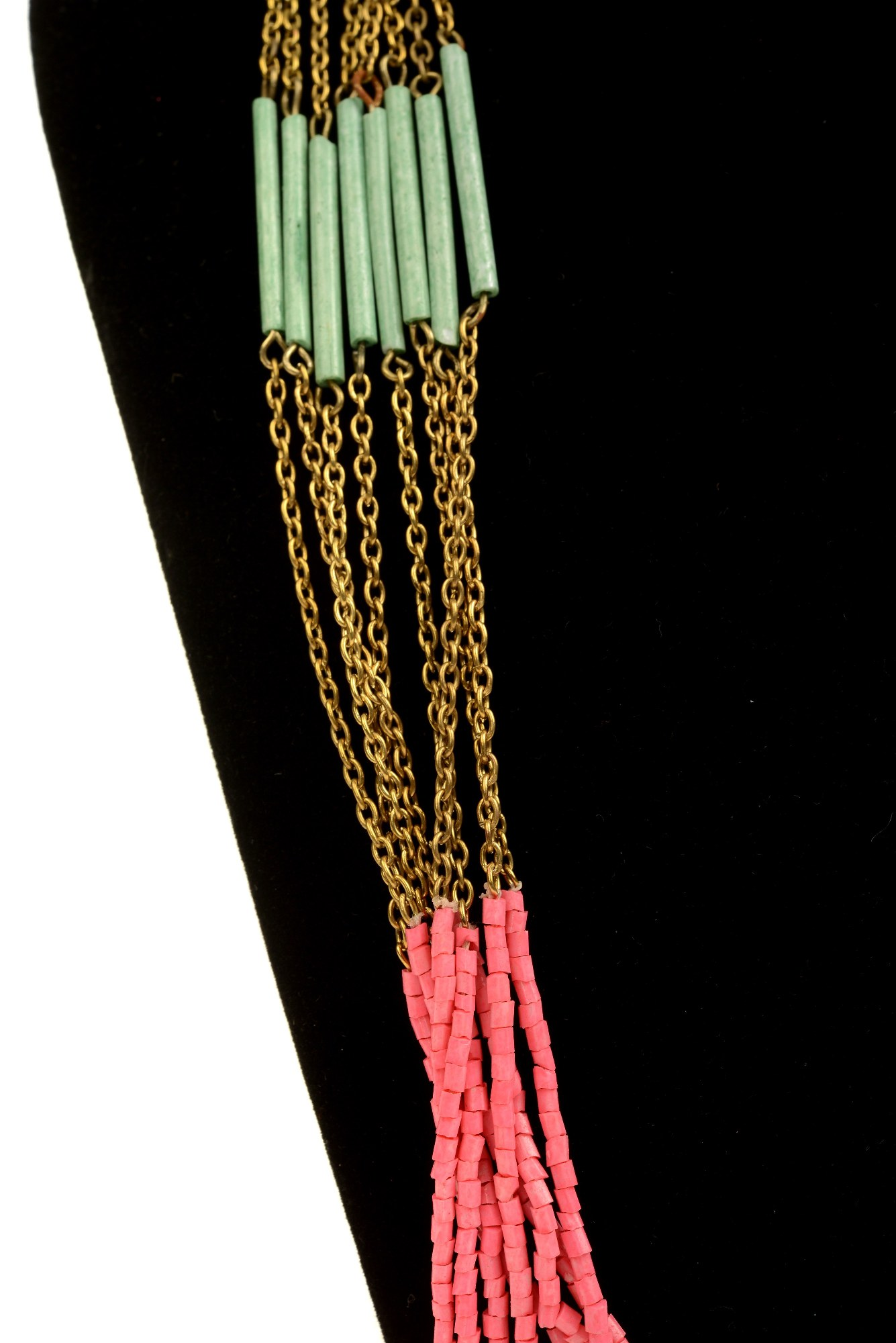 Colier lung Brena roz-turcoaz