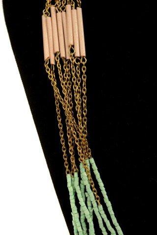 Colier lung Brena turcoaz-crem