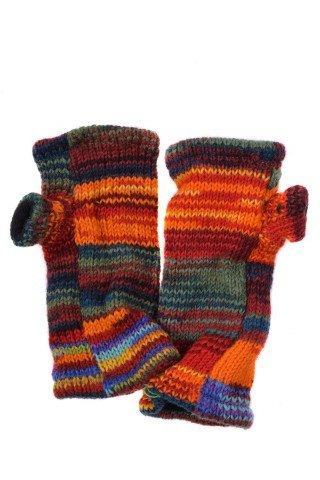 Manusi multicolore din lana fara degete