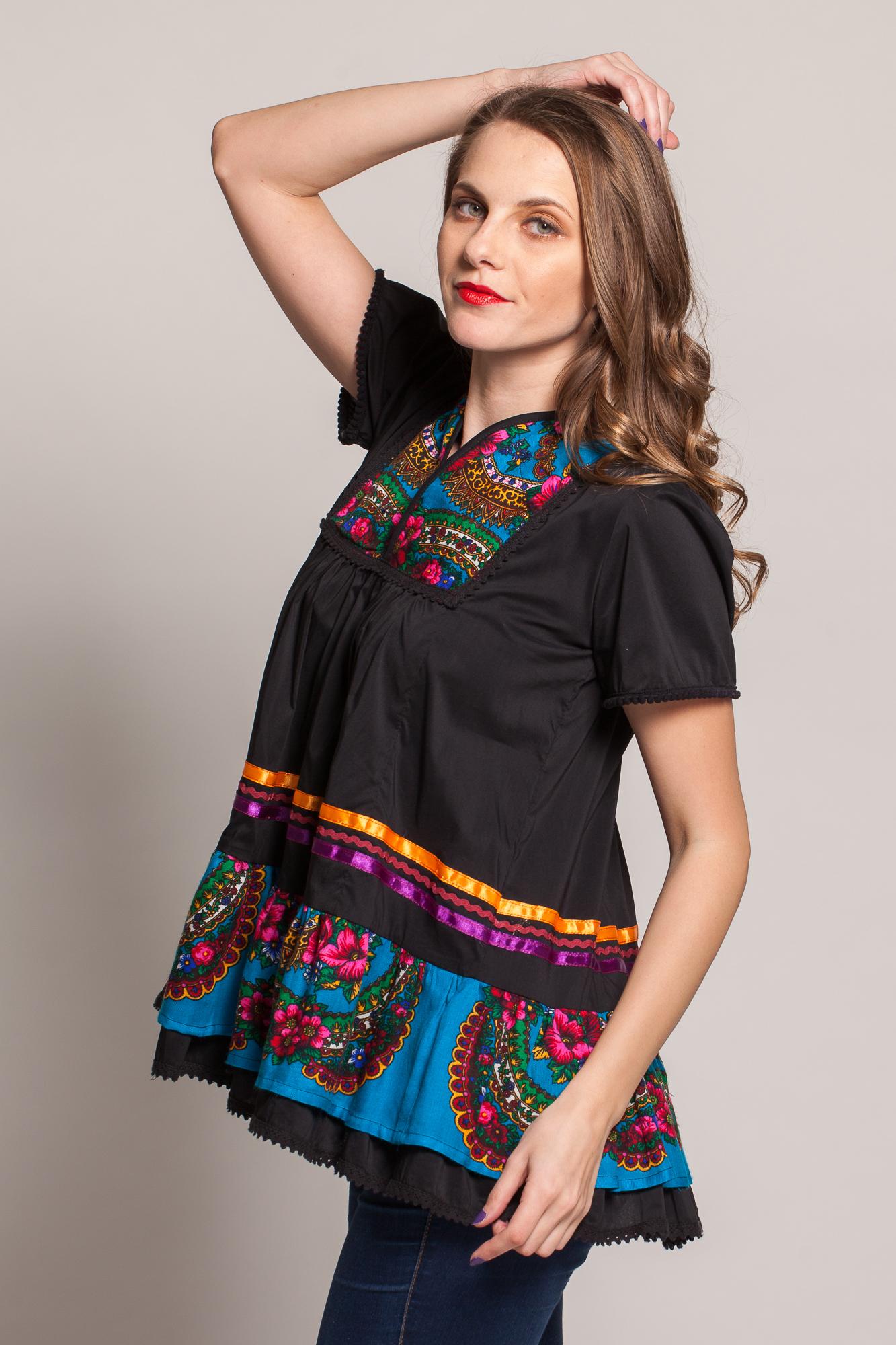 Bluza neagra poplin cu platca din material de inspiratie maramureseana