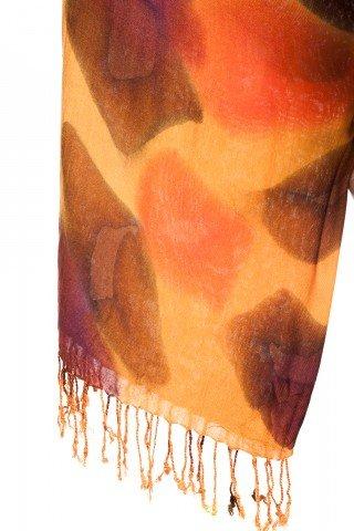 Esarfa vascoza groasa tie-dye Aissa portocalie