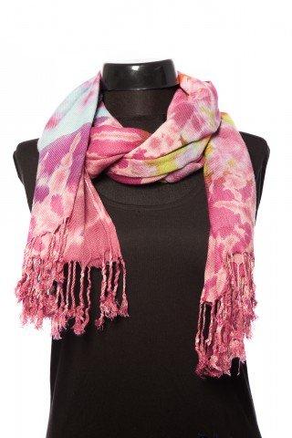 Esarfa vascoza groasa tie-dye Aissa roz