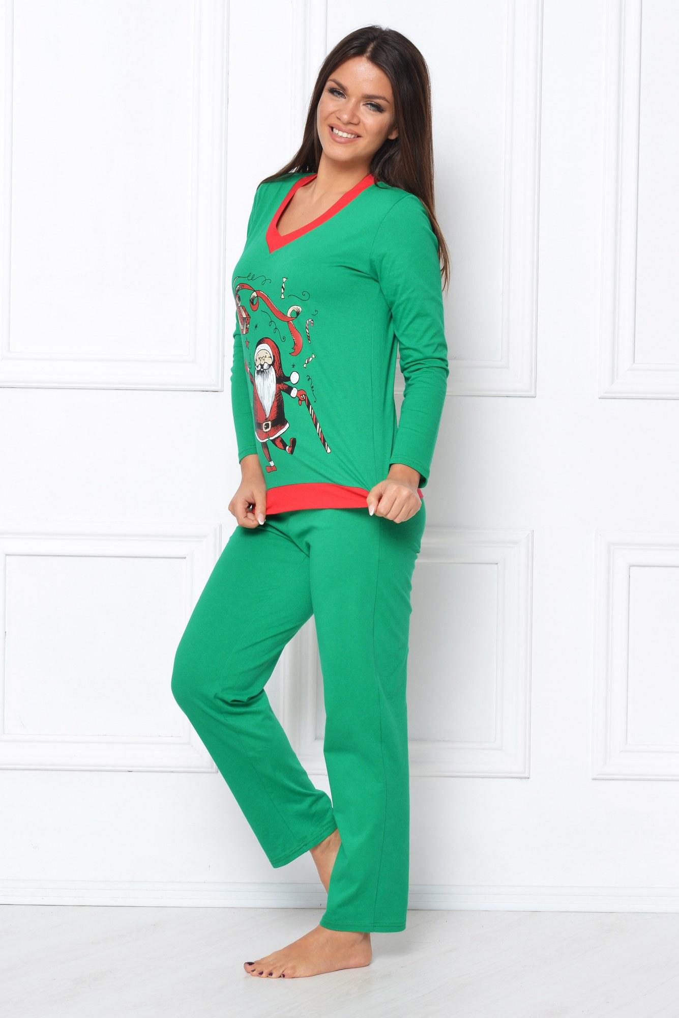 Pijama verde cu imprimeu Mos Craciun