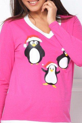 Pijama roz cu pinguini